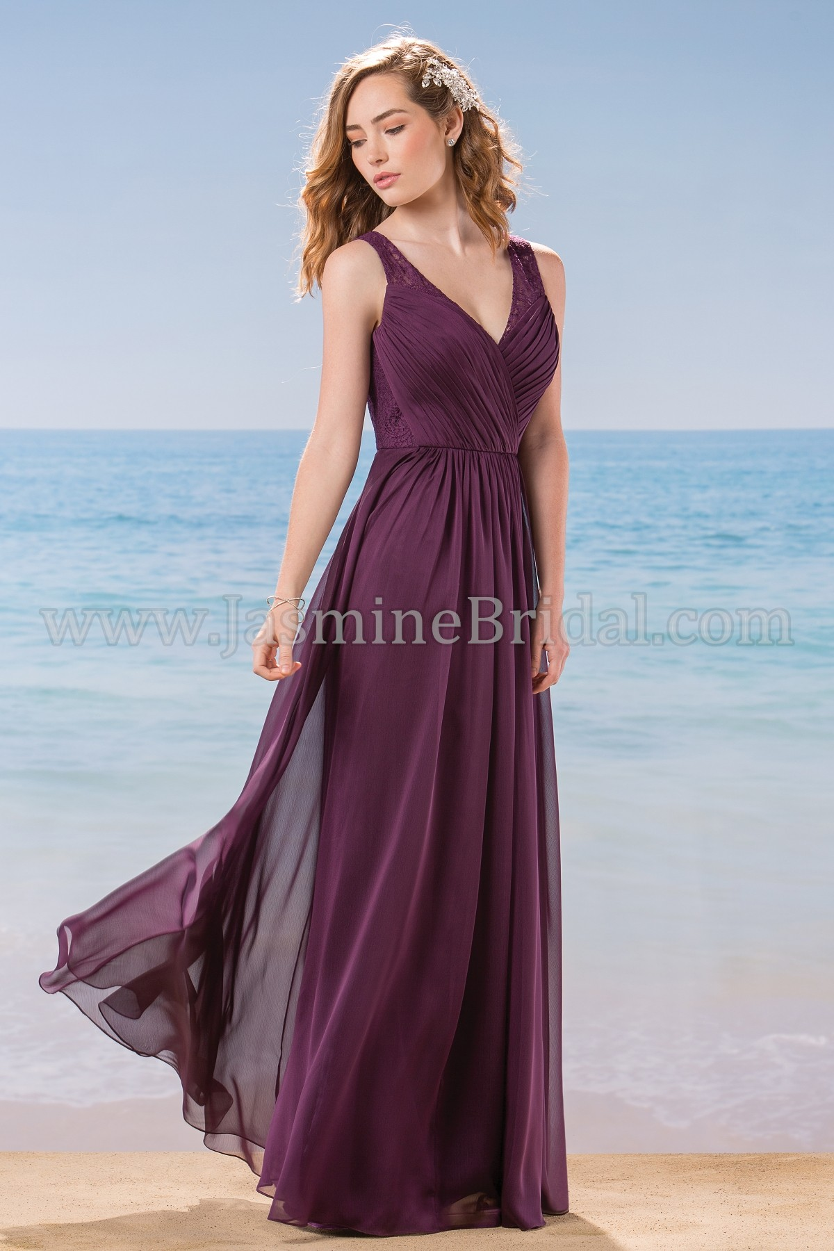 L184016 Long V-neck Belsoie Tiffany Chiffon & Lace Bridesmaid Dress