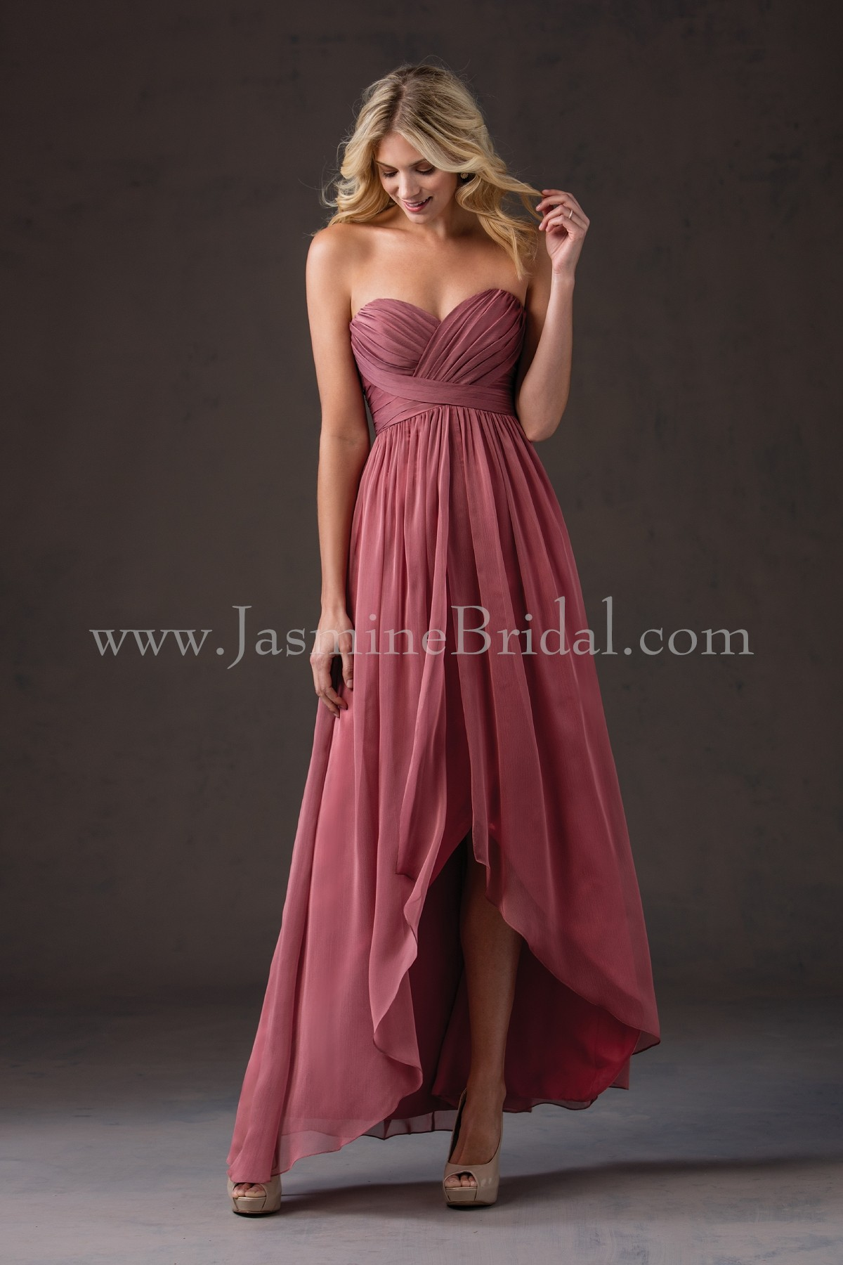 L184052 sweetheart strapless belsoie tiffany chiffon high low home bridesmaids belsoie l184052 ombrellifo Gallery
