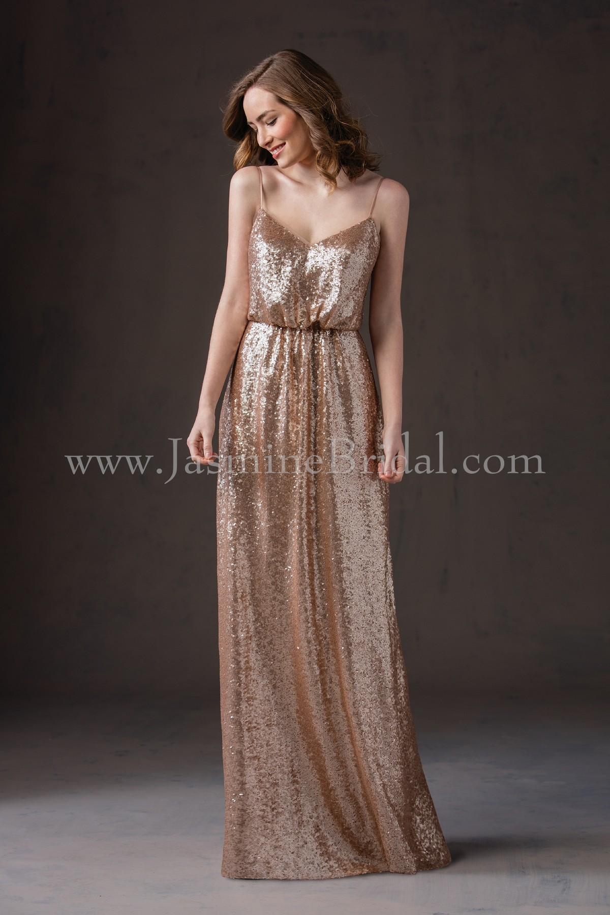 L184065 long v neck sequin bridesmaid dress with spaghetti straps ombrellifo Choice Image