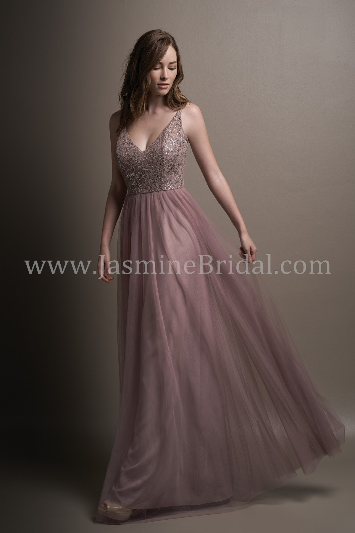 L194001 Long V Neck Metallic Lace Amp Soft Tulle Bridesmaid