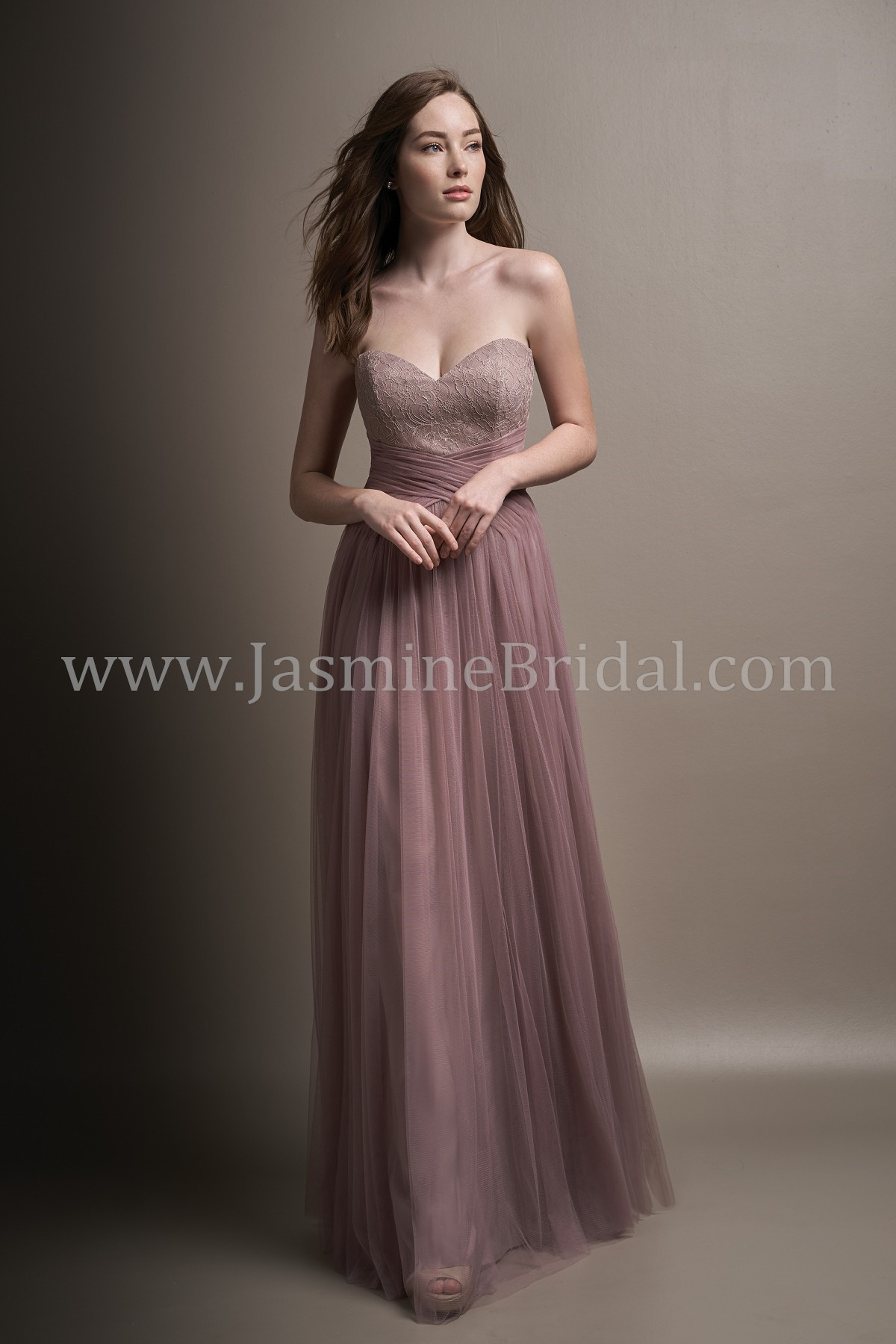 L194005 Long Sweetheart Strapless Lace & Soft Tulle Bridesmaid Dress