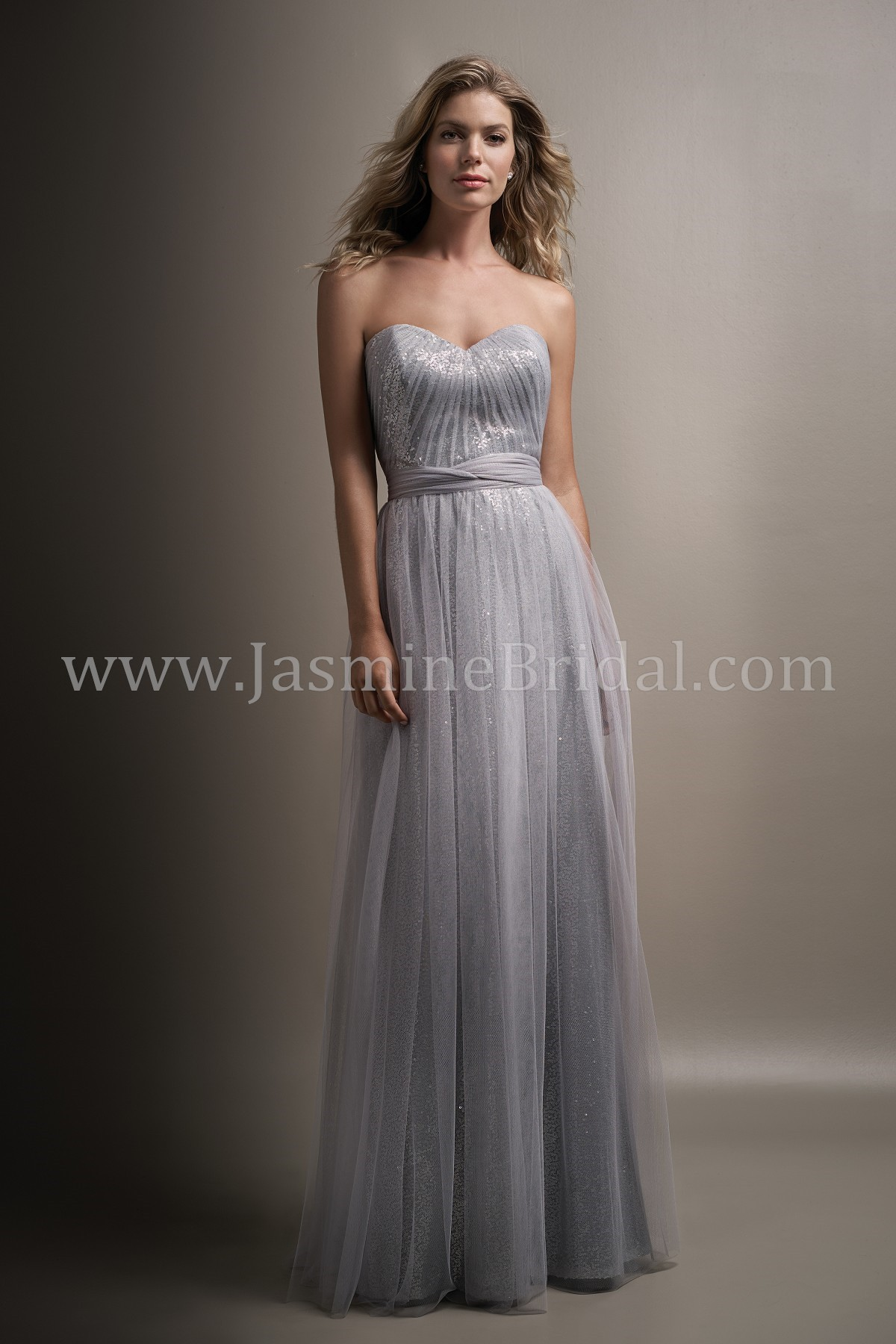 cf684034f75 L194007 Long Sweetheart Strapless Soft Tulle   Sequin Bridesmaid Dress