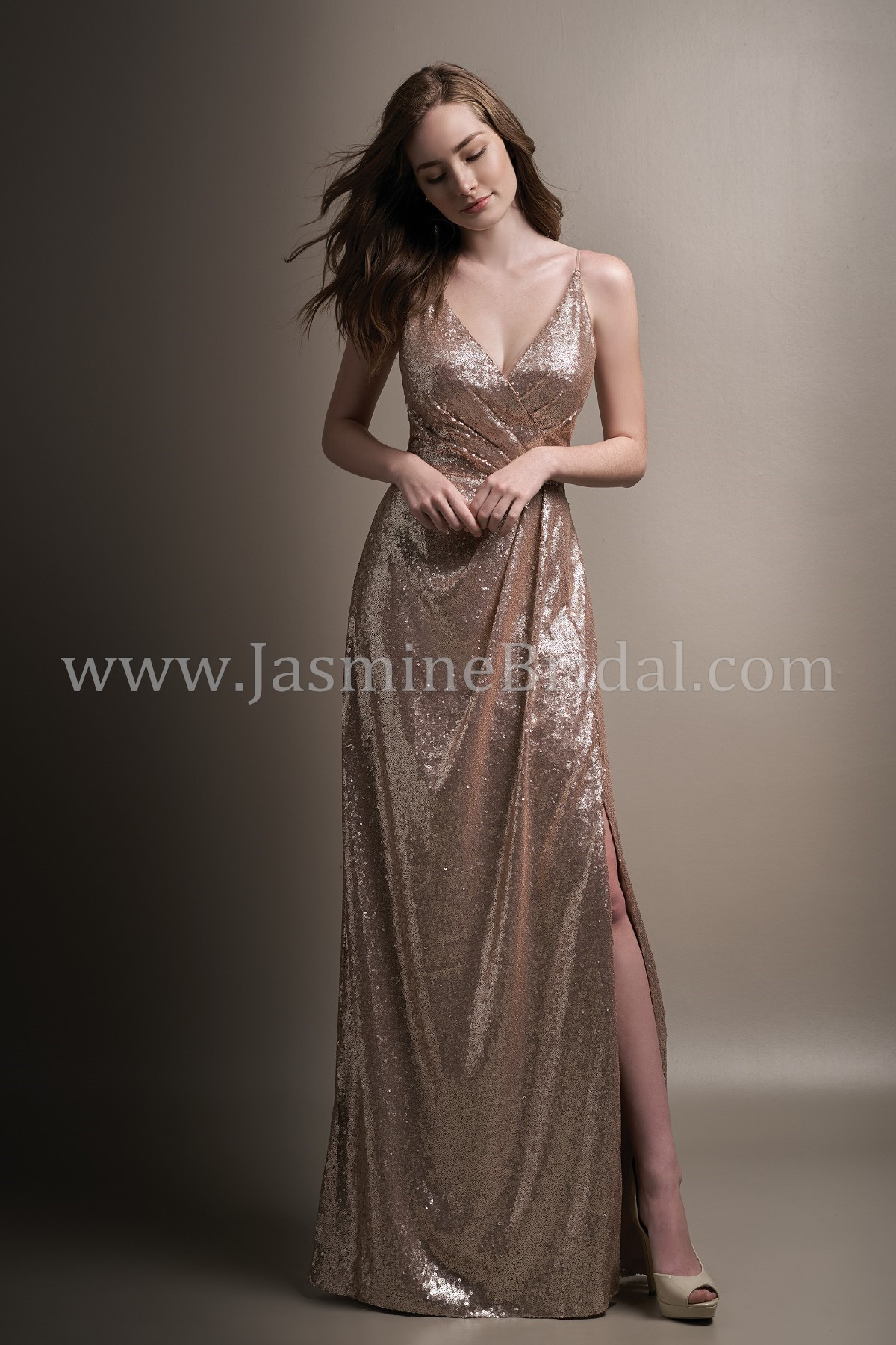 L194008 long v neck sequin bridesmaid dress with slit home bridesmaids belsoie l194008 ombrellifo Image collections
