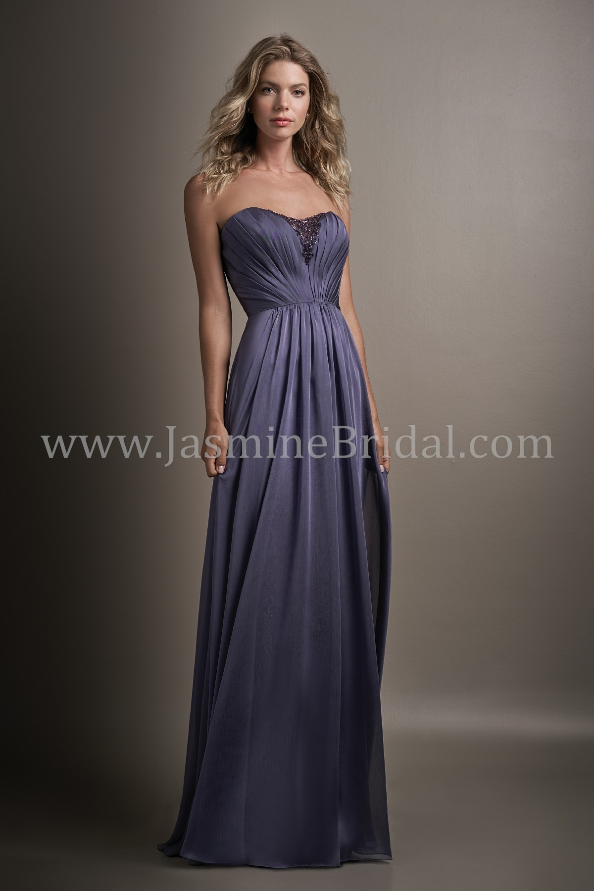 bde6df2866c L194013 Long Sweetheart Strapless Belsoie Tiffany Chiffon Bridesmaid Dress