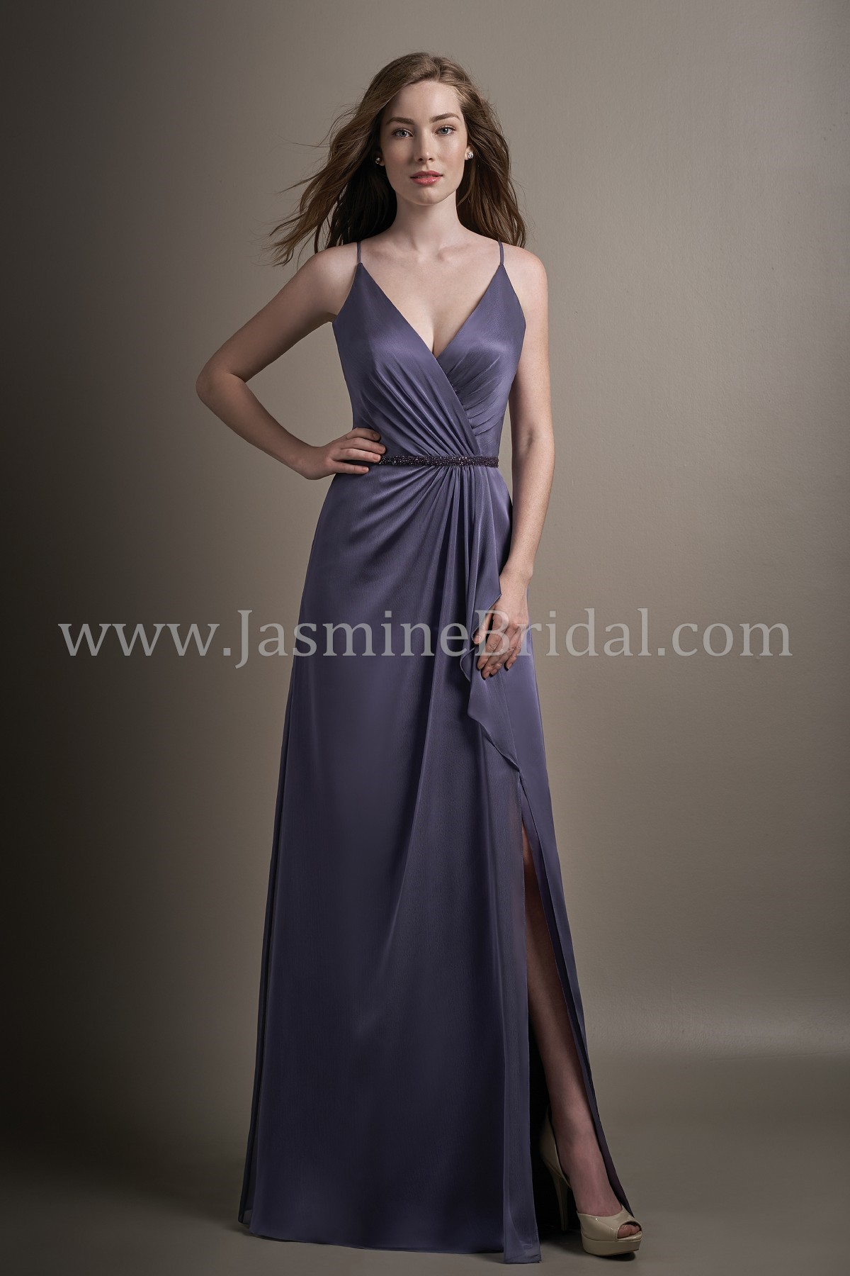 04ab590bc86 L194015 Long V-neck Belsoie Tiffany Chiffon Bridesmaid Dress with Slit and  Beaded Waistband