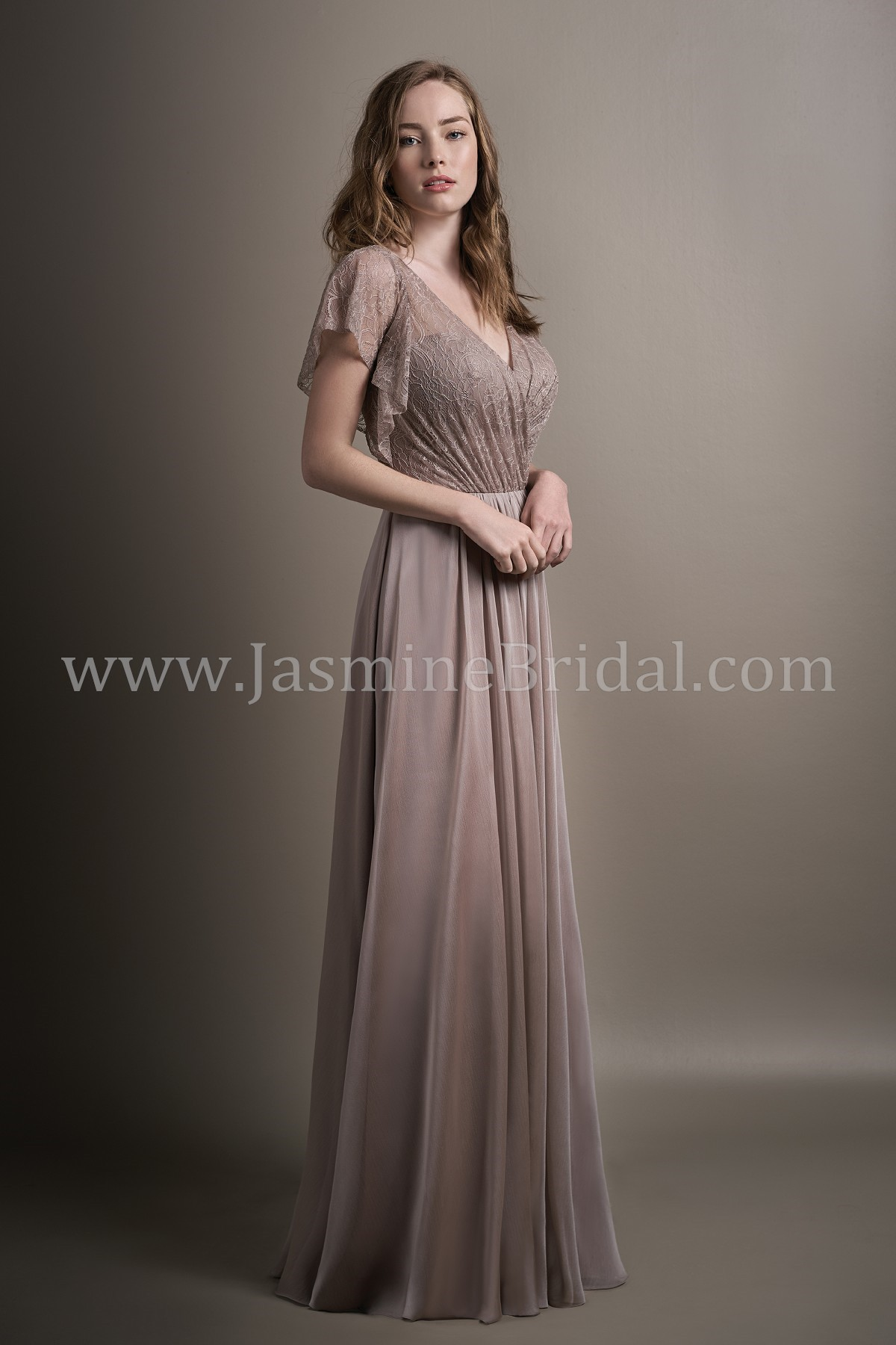 d4f262d4ad51 L194016 Long V-neck Lace   Belsoie Tiffany Chiffon Bridesmaid Dress with  Butterfly Sleeves