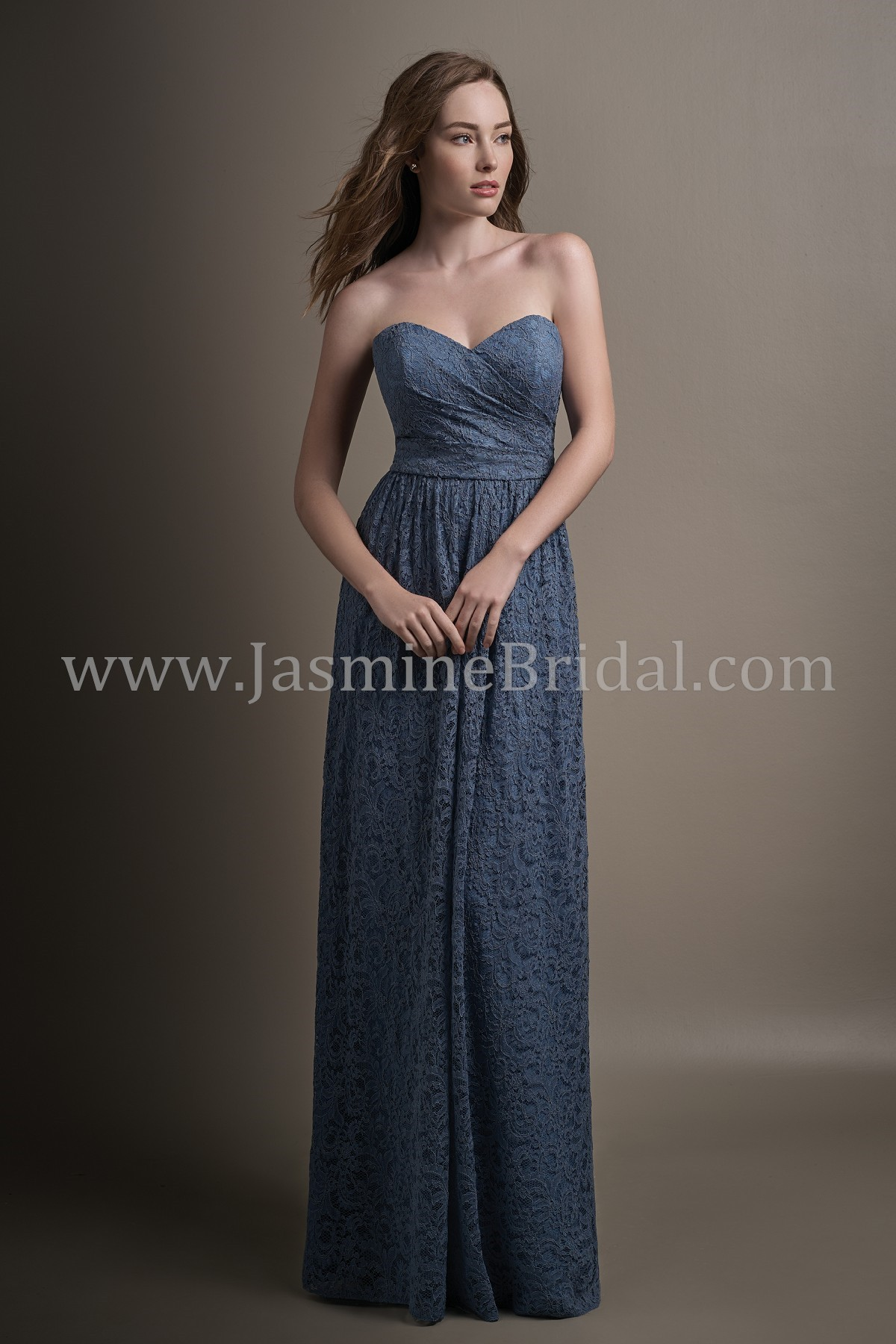 L194017 Long Sweetheart Strapless Lace Bridesmaid Dress
