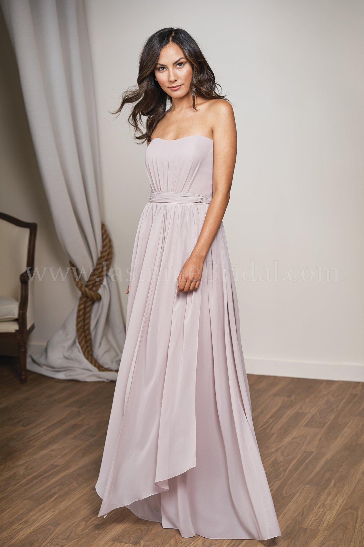 L204003 long strapless poly chiffon bridesmaid dress with sash ombrellifo Choice Image