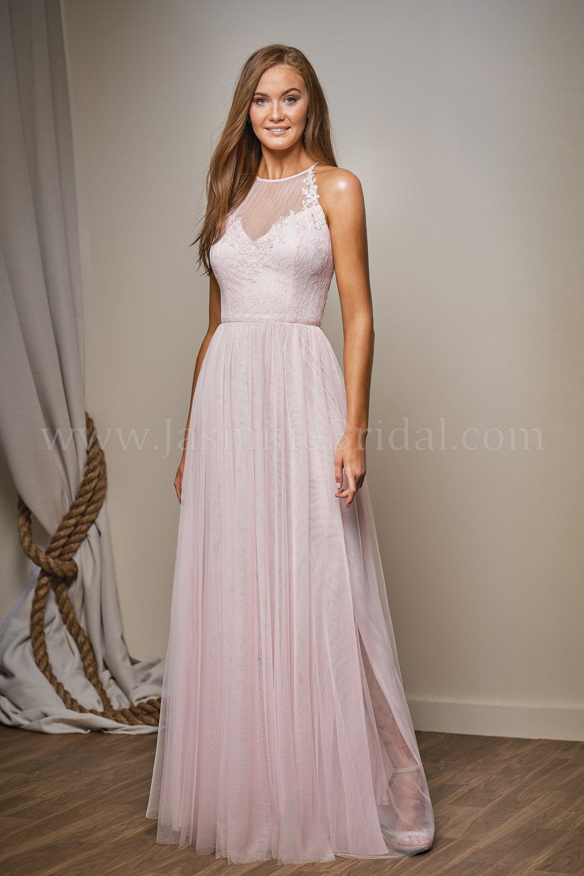 L204009 long illusion neckline lace soft tulle bridesmaid dress ombrellifo Images
