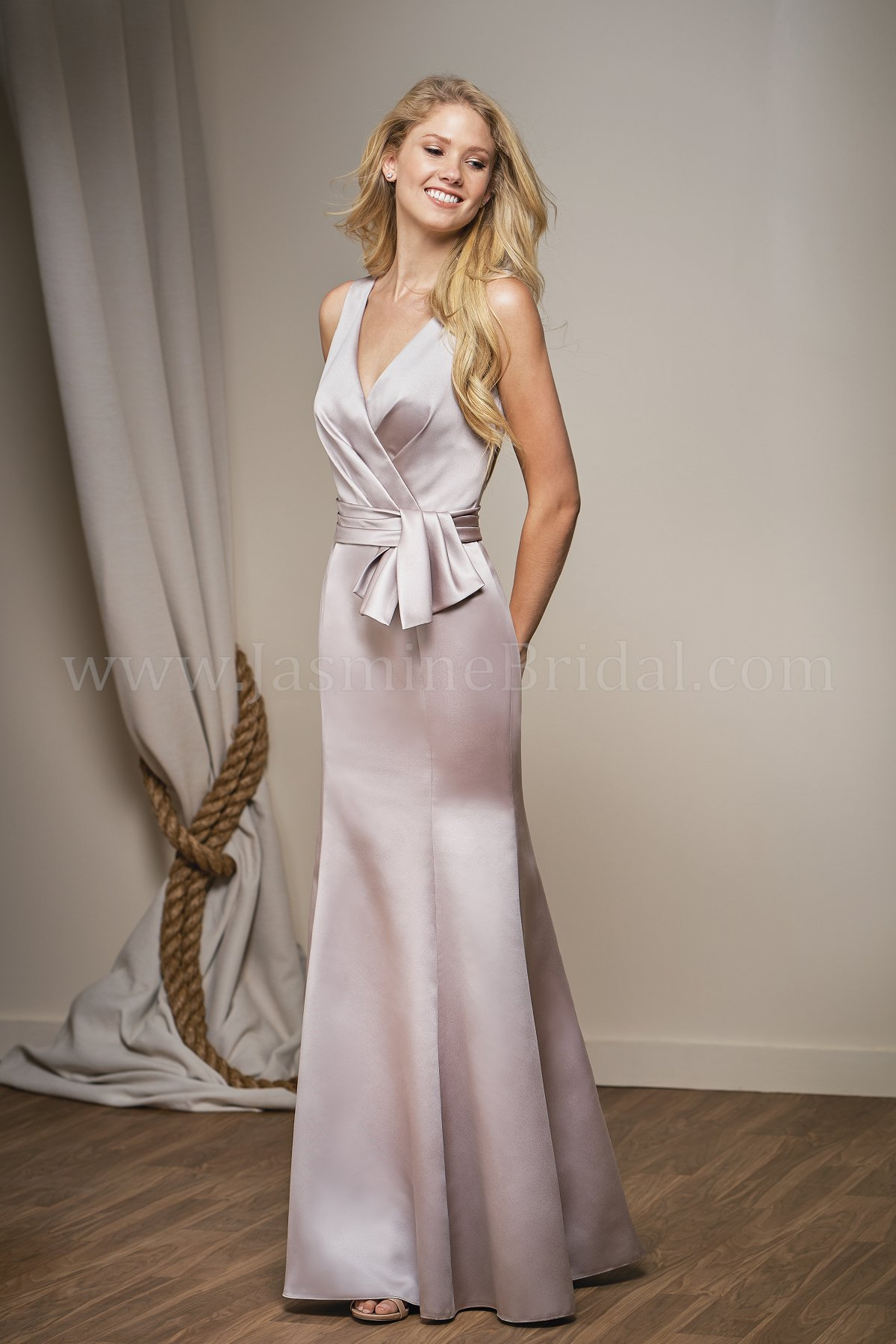 L204012 long v neck marquis satin bridesmaid dress with sash ombrellifo Choice Image