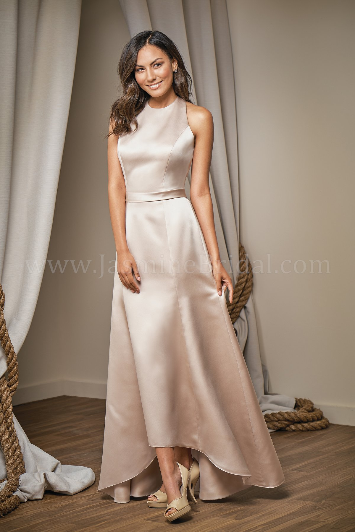 L204013 Jewel Neckline Marquis Satin High Low Bridesmaid Dress