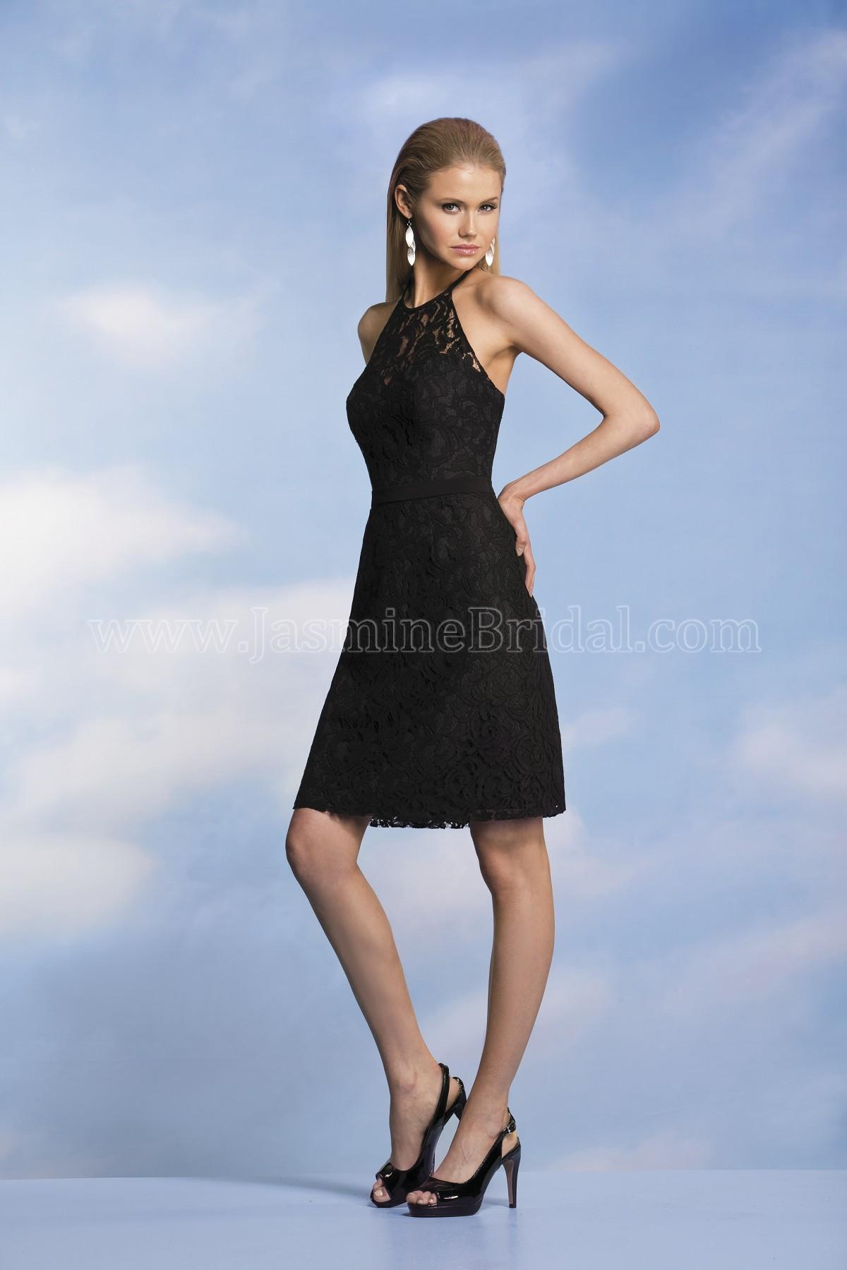 P176004k knee length halter neckline lace georgette bridesmaid dress ombrellifo Gallery