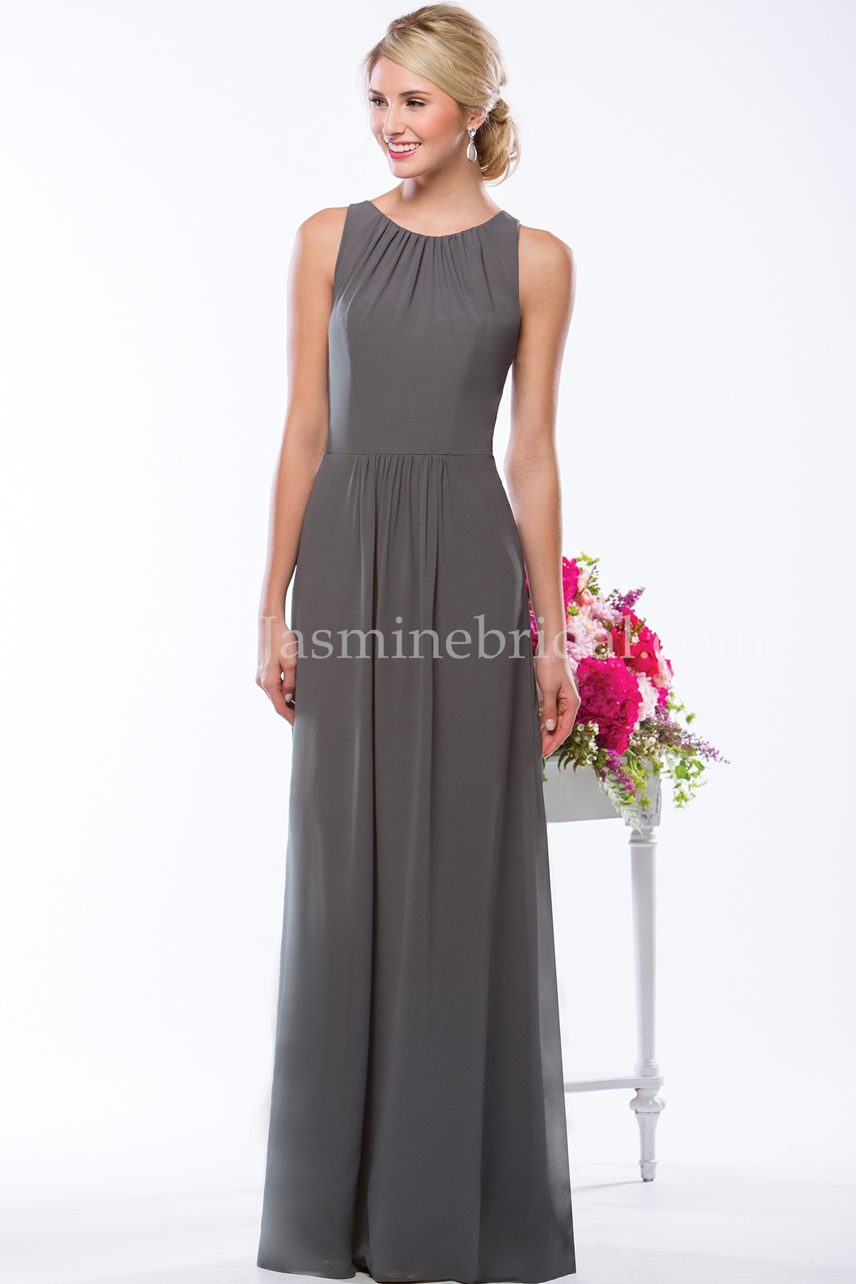 P176052 long jewel neckline georgette bridesmaid dress ombrellifo Images