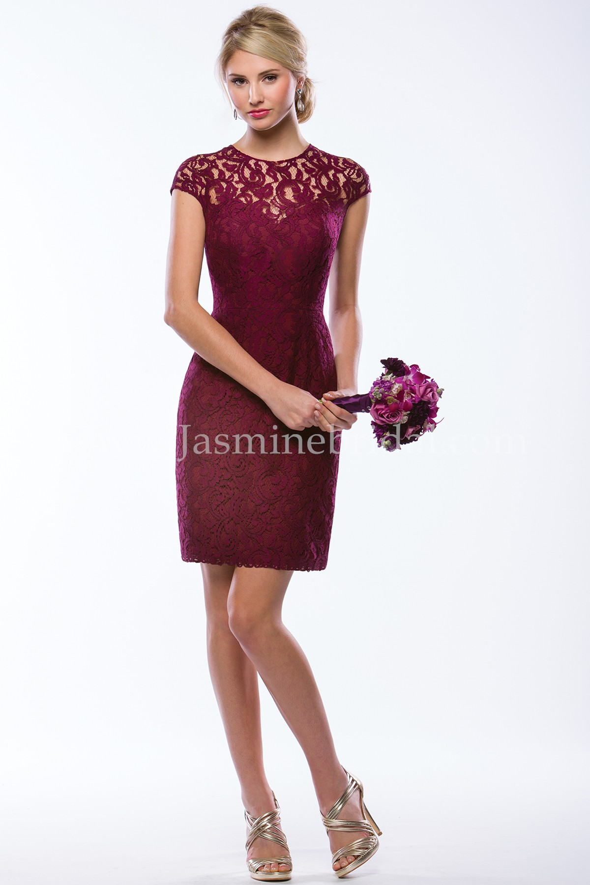 P176065k Knee Length Illusion Neckline Lace Bridesmaid Dress With Cap Sleeves