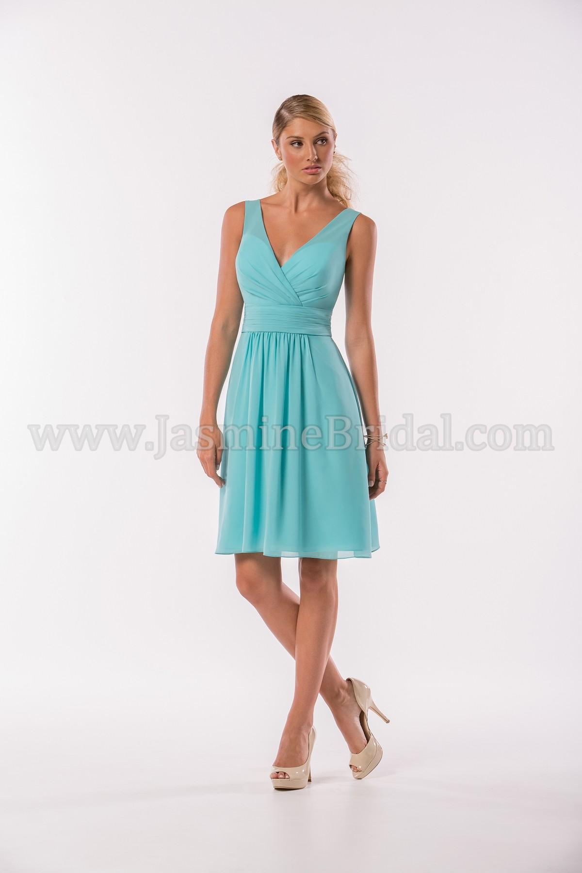 P186014K Knee Length V-neck Georgette Bridesmaid Dress