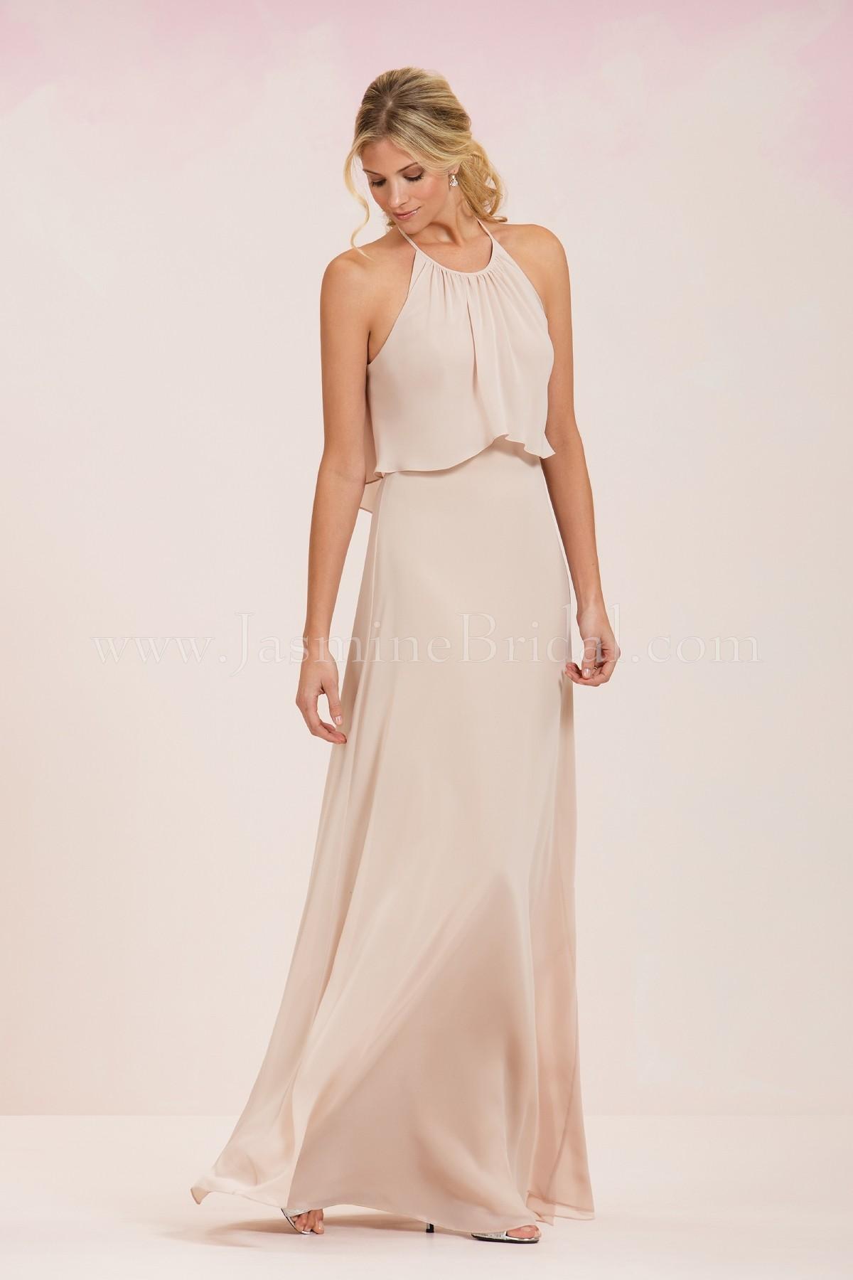 P186051 Long Jewel Neckline Georgette Bridesmaid Dress