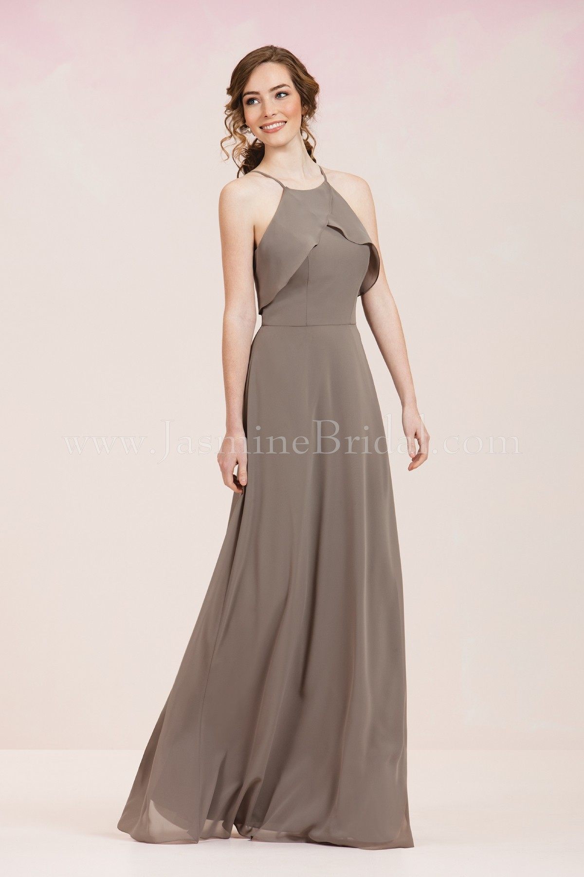 P186055 long high neck georgette bridesmaid dress ombrellifo Images