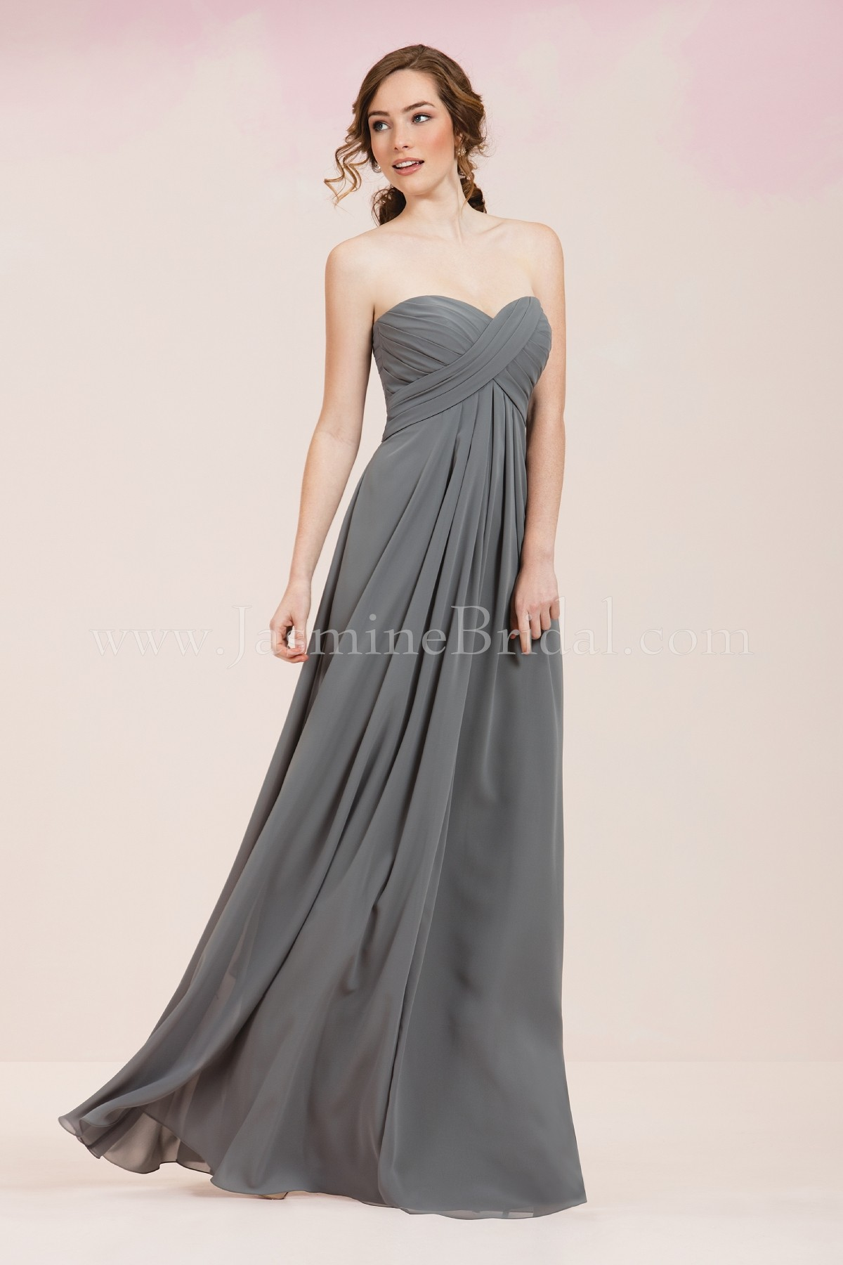 P186057 Long Sweetheart Strapless Georgette Bridesmaid Dress