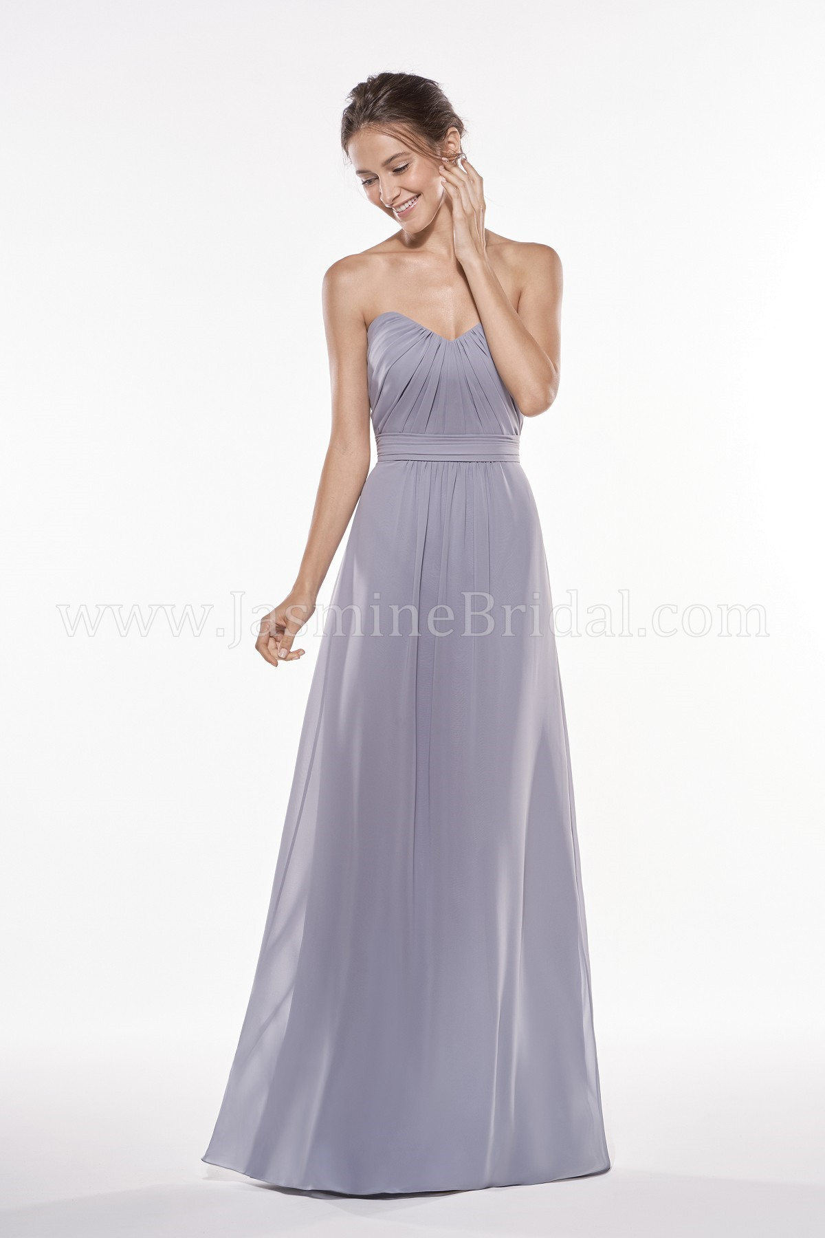 P196005 Long Sweetheart Strapless Georgette Bridesmaid Dress