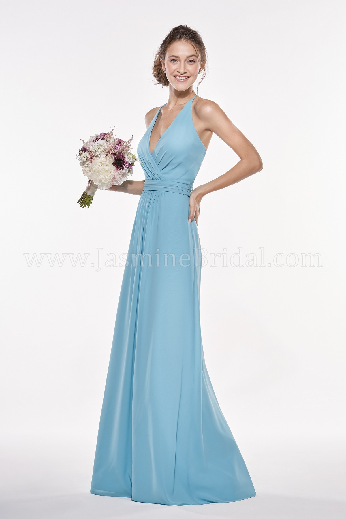 P196008 Long V-neck Halter Georgette Bridesmaid Dress