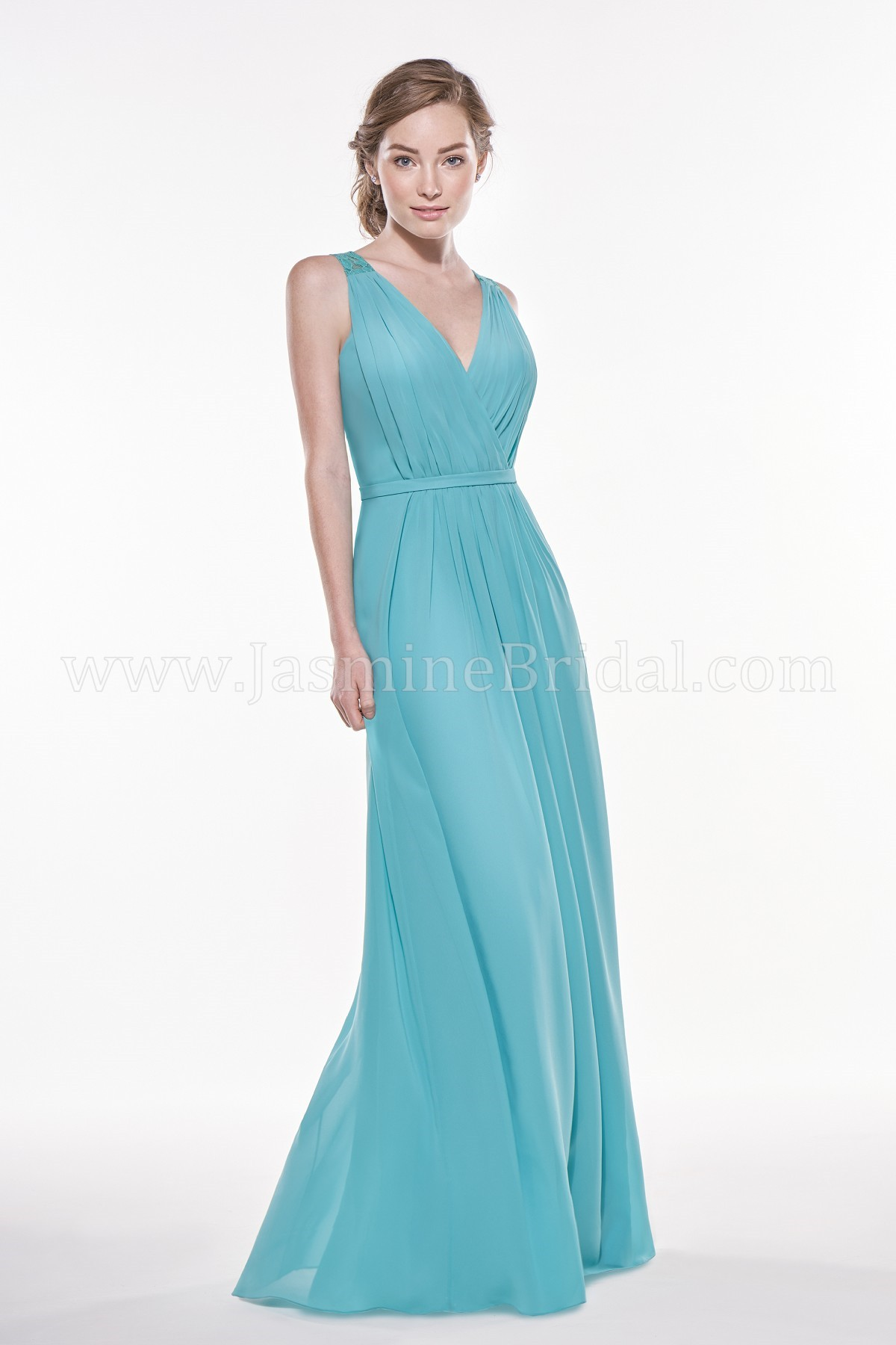 P196009 long v neck georgette w lace bridesmaid dress ombrellifo Image collections