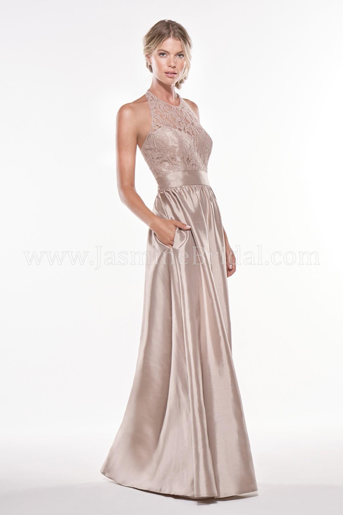 P196010 Long Jewel Neckline Lace & Satin Back Dupioni Bridesmaid Dress