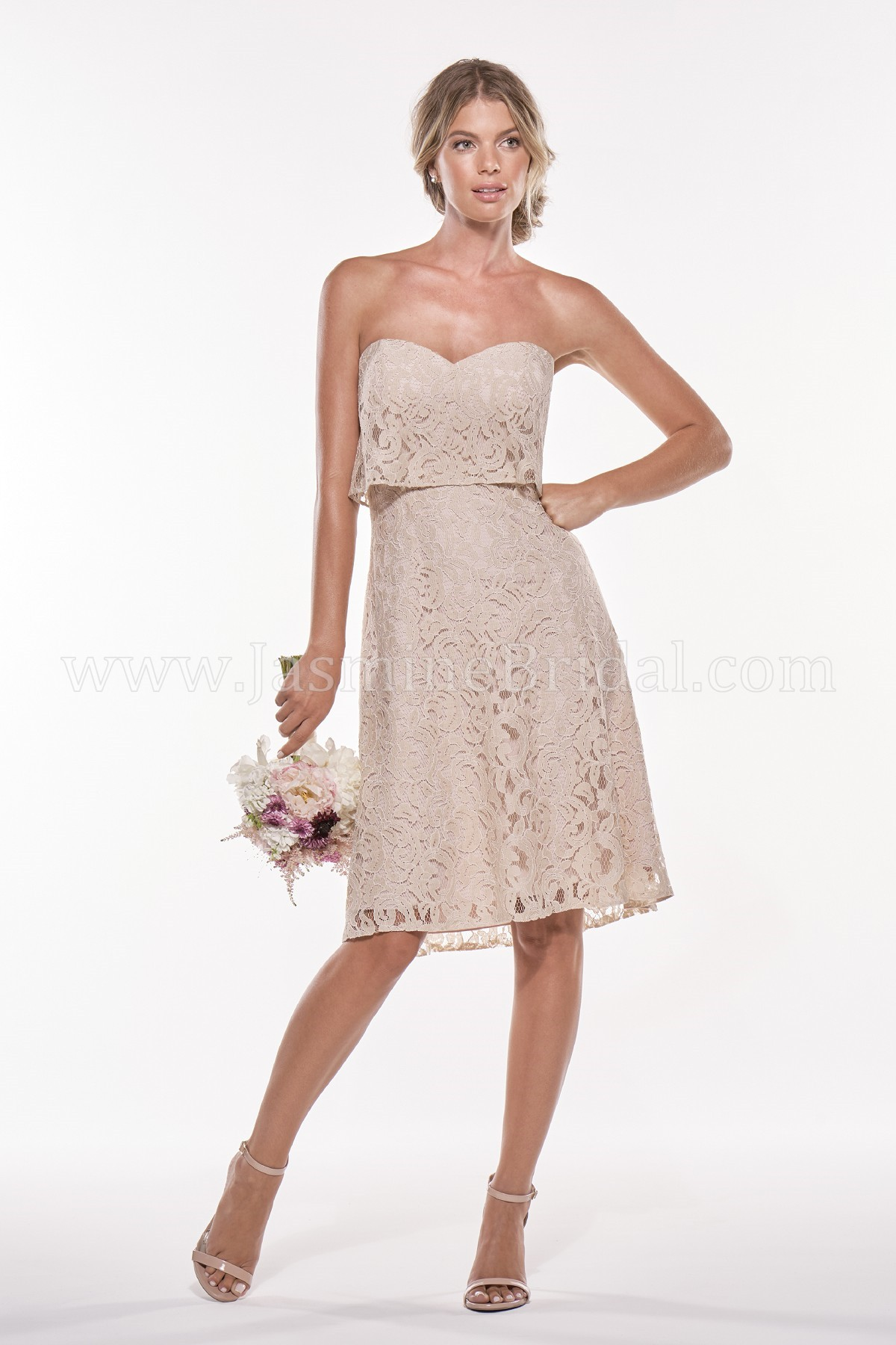 P196011K Knee Length Sweetheart Strapless Lace Bridesmaid Dress