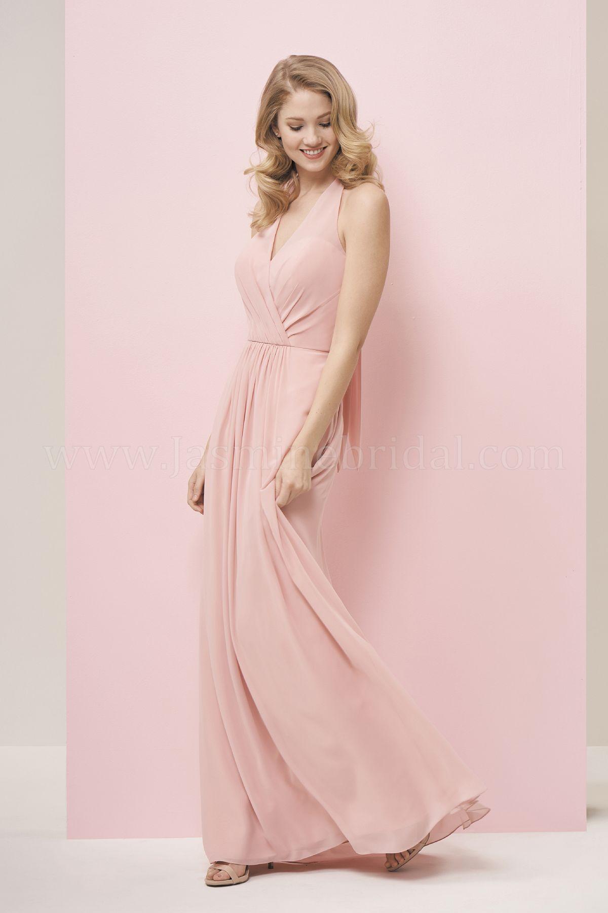 P196051 Long V-neck Halter Georgette Bridesmaid Dress
