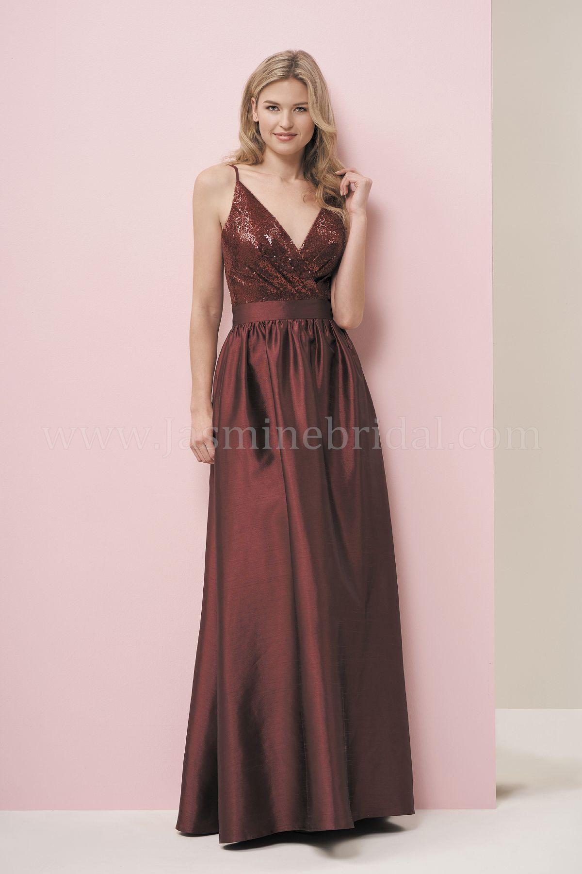 f03b83e1eaa P196059 Long V-neck Sequin   Satin Back Dupioni Bridesmaid Dress