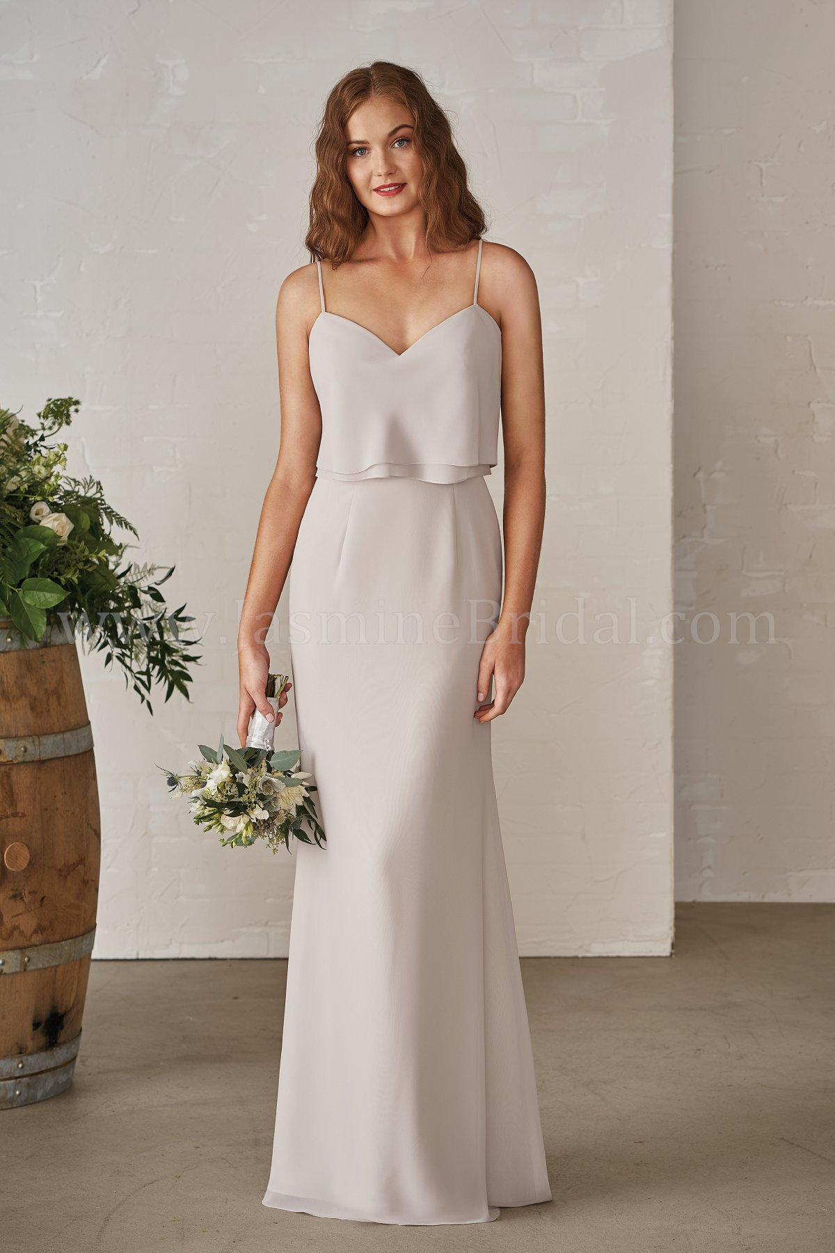 c91c1a2ee29 P206001 Long V-neck Georgette Bridesmaid Dress with Spaghetti Straps