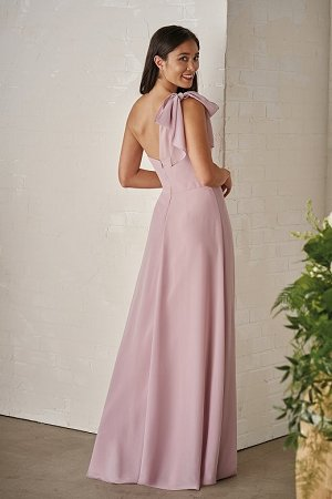 Lilac Bridesmaid Dress | P206002 Long One Shoulder Georgette Bridesmaid Dress