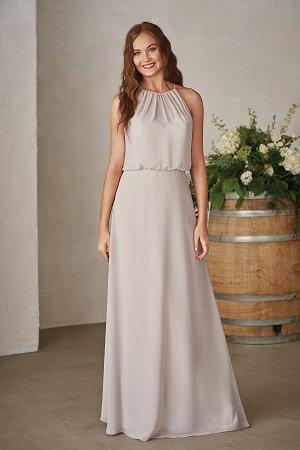 P206003 Long Halter Neckline Georgette Bridesmaid Dress