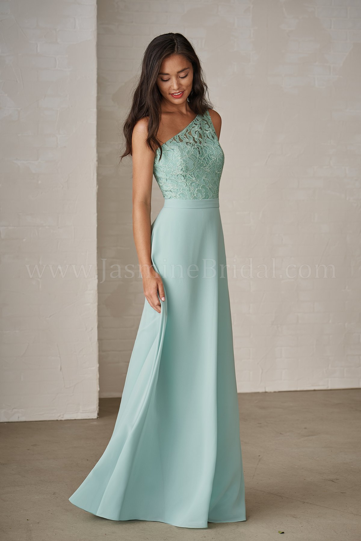 P206009 Long One Shoulder Lace Georgette Bridesmaid Dress