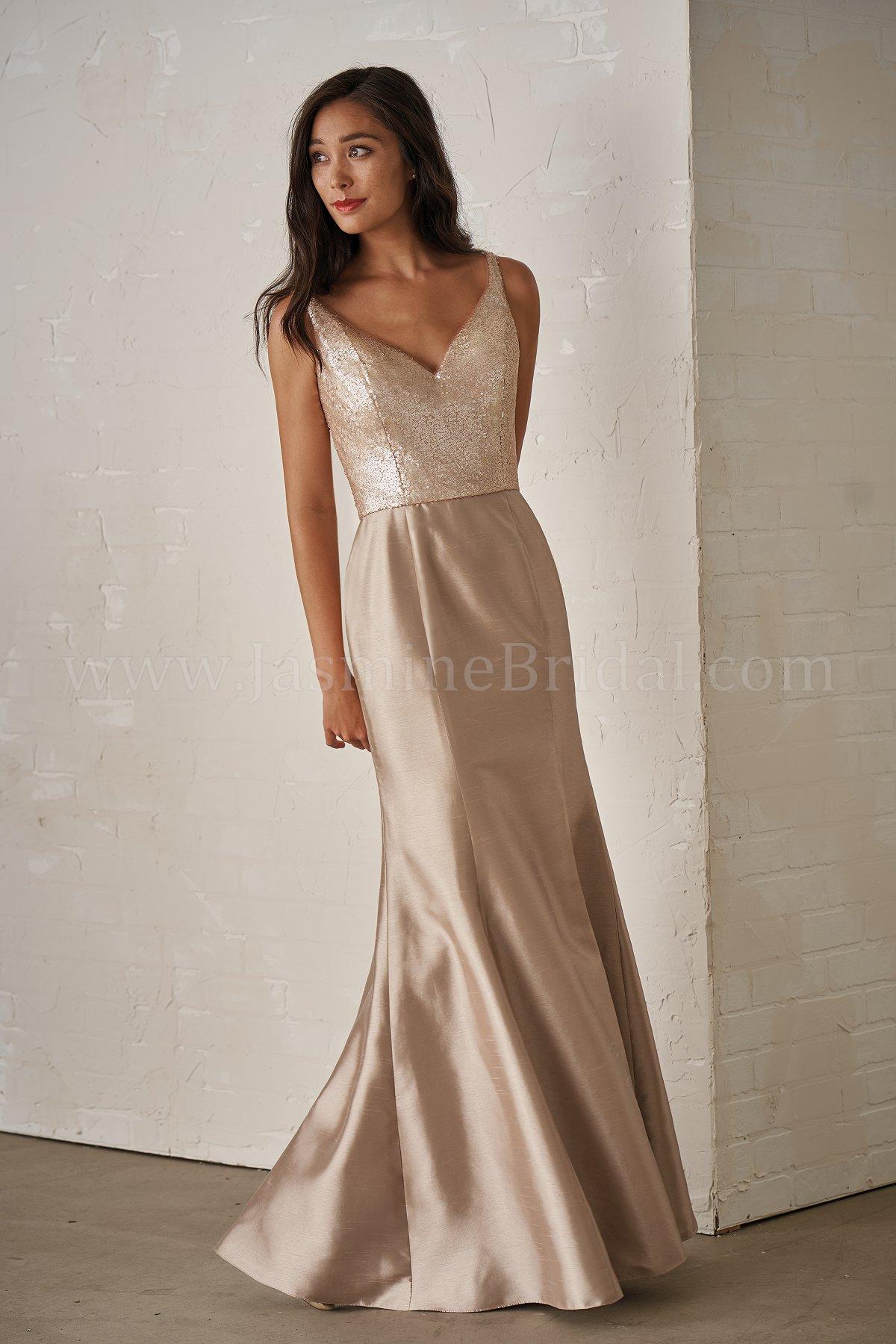 27849447d14 P206011 Long V-neck Sequin   Satin Back Dupioni Bridesmaid Dress