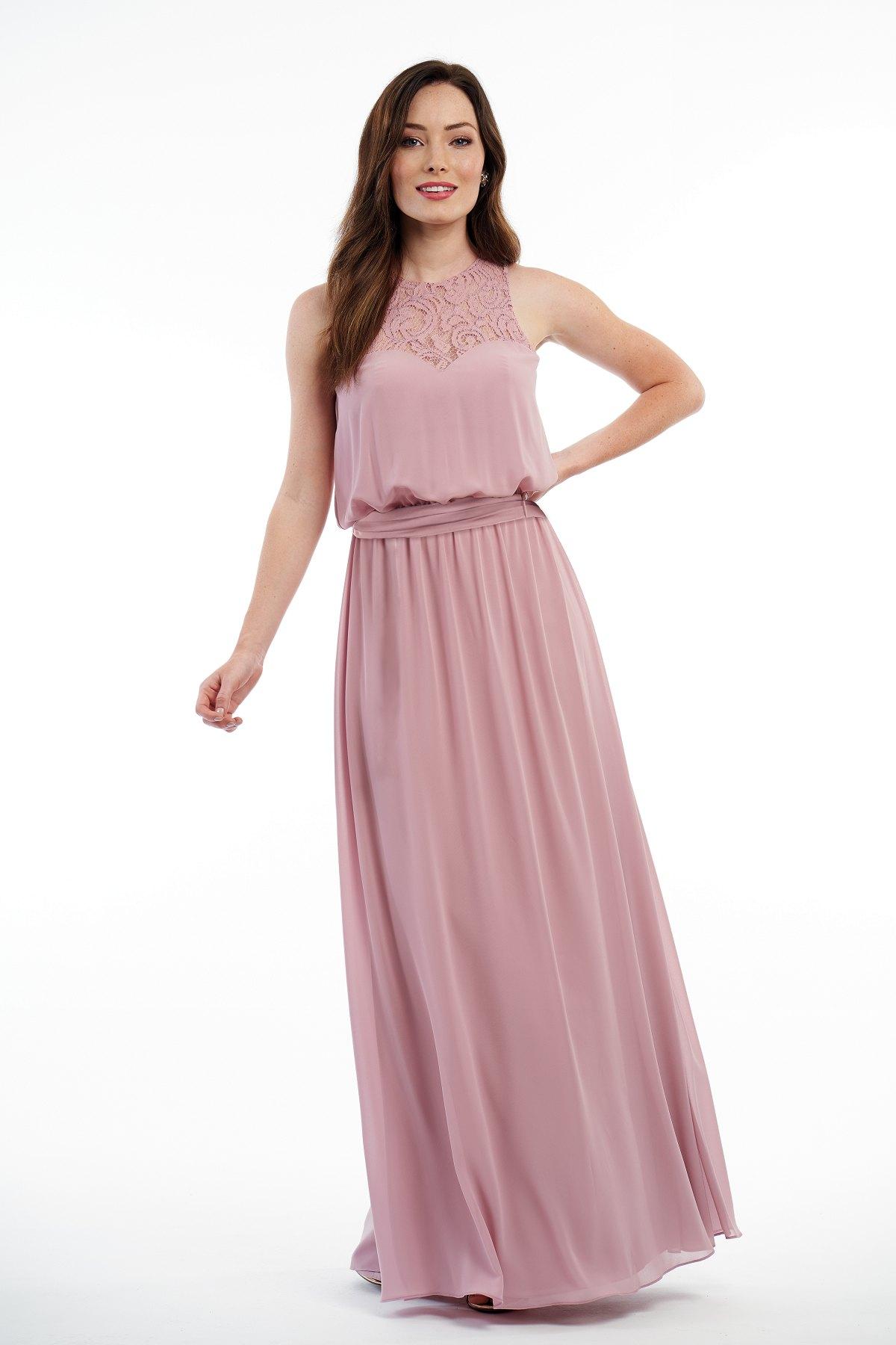 02eba6cc7da0 P216010 Charlotte Chiffon & Lace Long Bridesmaid Dress with Jewel Neckline