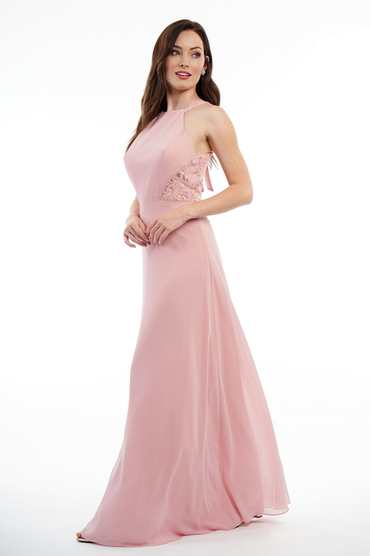 ca8b5767793 P216011 Charlotte Chiffon   Lace Long Bridesmaid Dress with Jewel Neckline