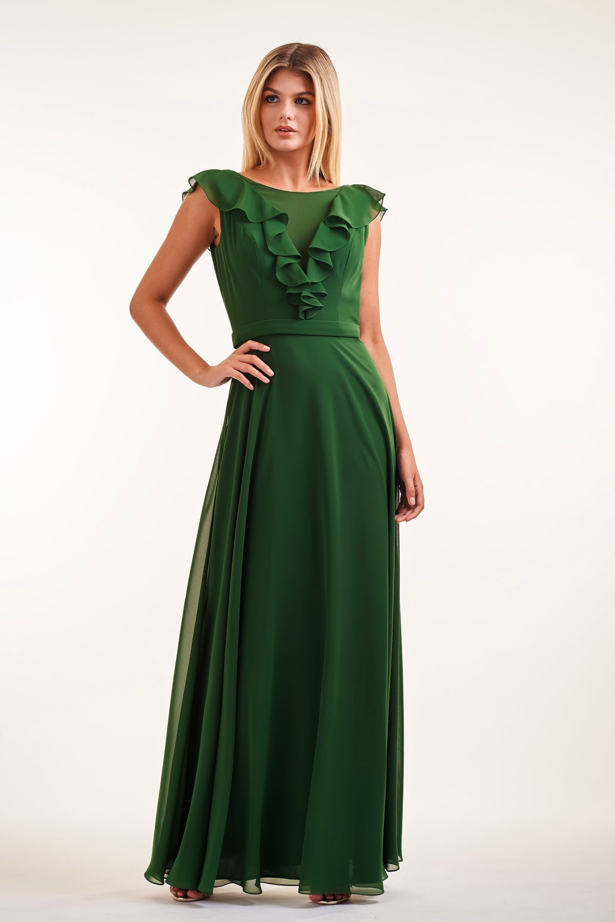 226007 Charlotte Chiffon Bateau Neckline With V Ruffle And Deep V Ruffle Back Dress