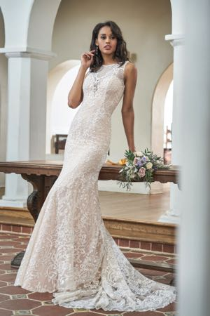 3624860cdef T212054. T212054. Ivory Honey Gold embroidered lace and malay satin wedding  dress ...