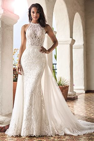 8e97a7121f8 T212056. T212056. Ivory Vintage embroidered lace and tulle wedding dress  with high halter neckline.