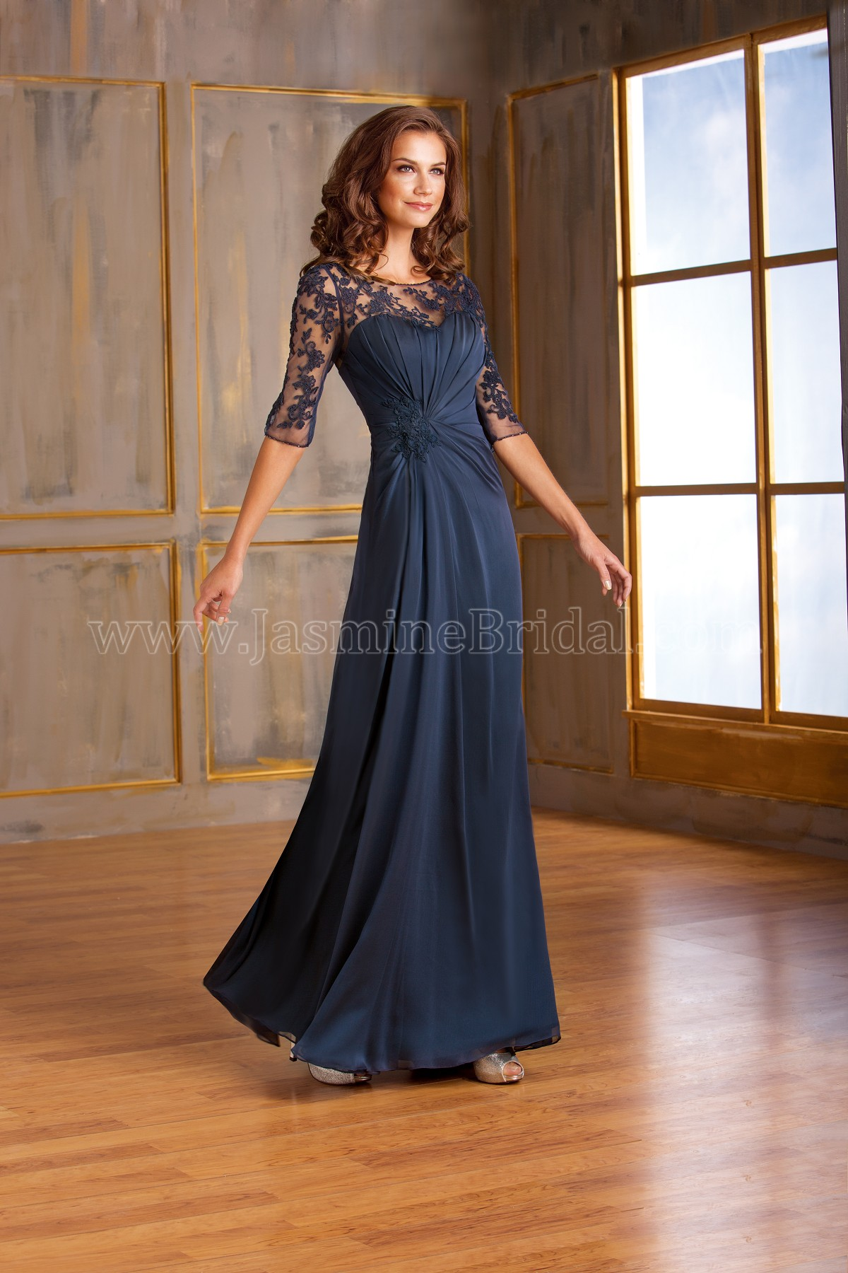J175003 Long Illusion Neckline Chiffon