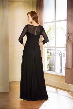 J175057 Long Boat Illusion Neckline Stretch Illusion Mob Dress With