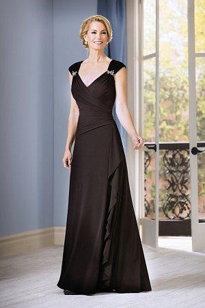 J185056 Long V Neck Matte Jersey Mob Dress