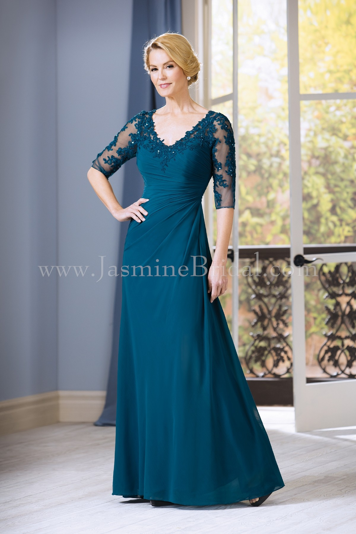 J185058 Long V-neck Stretch Illusion & Lace MOB Dress with Sleeves