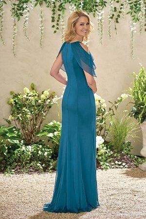 J195004 Long Jewel Neckline Chiffon Mob Dress