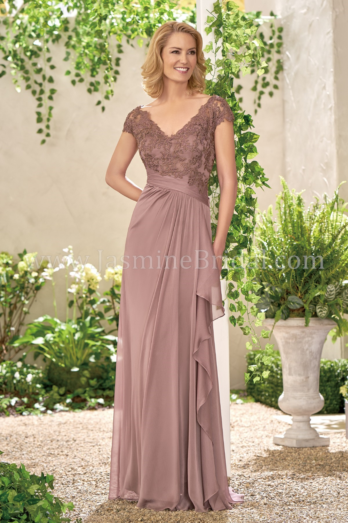 f18b1e87825 J195008 Long V-neck Lace   Chiffon MOB Dress with Cap Sleeves
