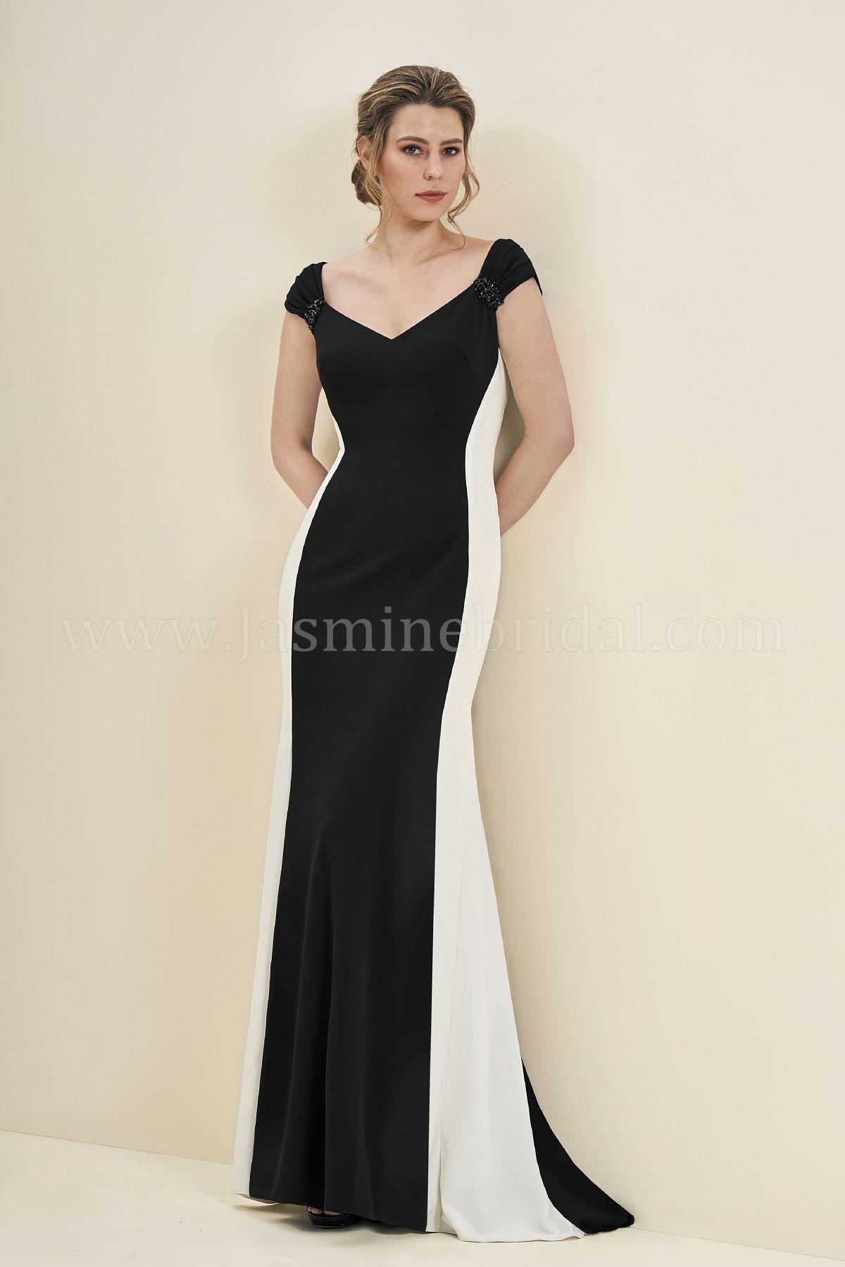 J195054 Long V Neck Stretch Crepe Mob Dress
