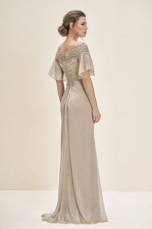 35f95b7b203 J195055 Long Portrait Neckline Chiffon w  Lace MOB Dress