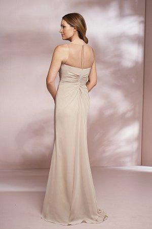 bd638b3dc0c J205002 Long Jewel Neckline Jade Chiffon MOB Dress with Shawl   Slit