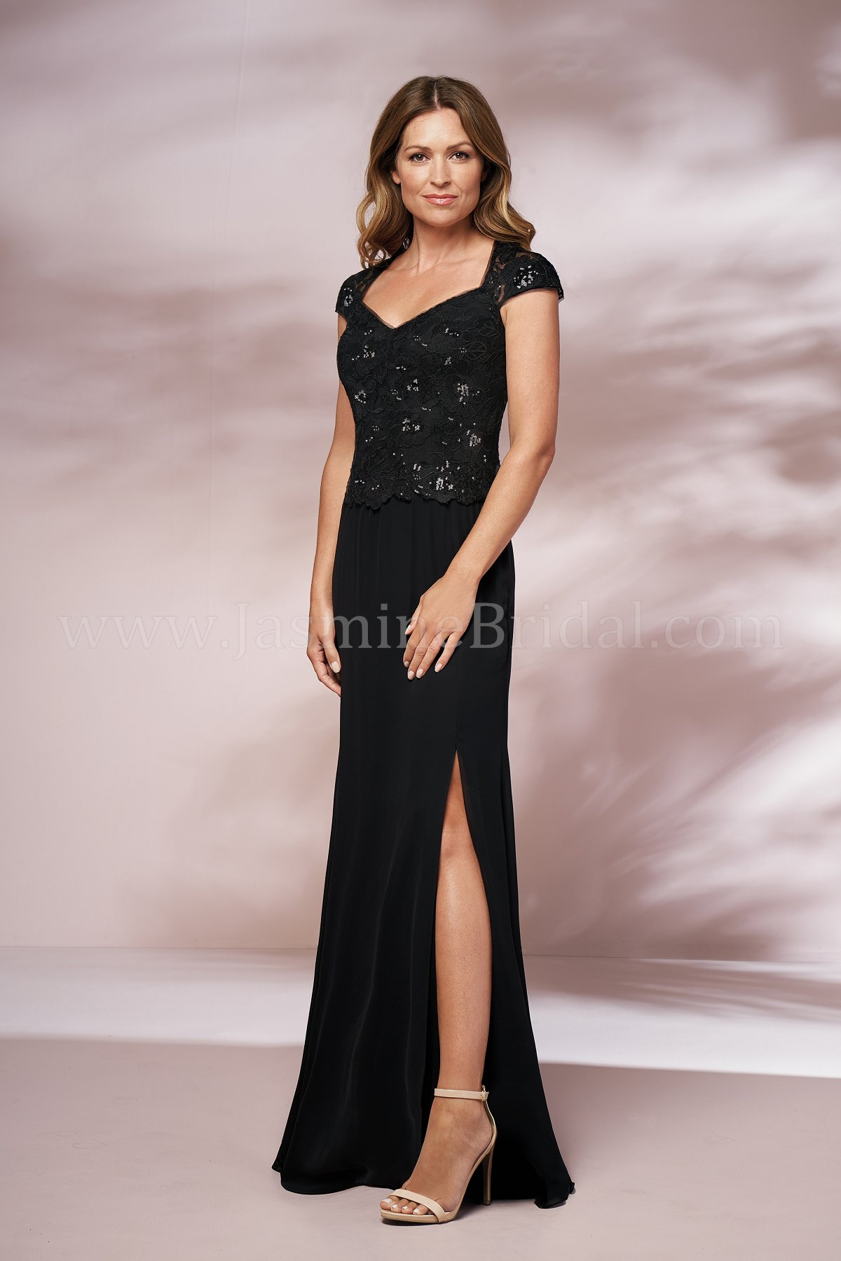 ac6621ab0c4a J205015 Long Queen Anne Neckline Sequin Lace & Jade Chiffon MOB Dress with  Slit
