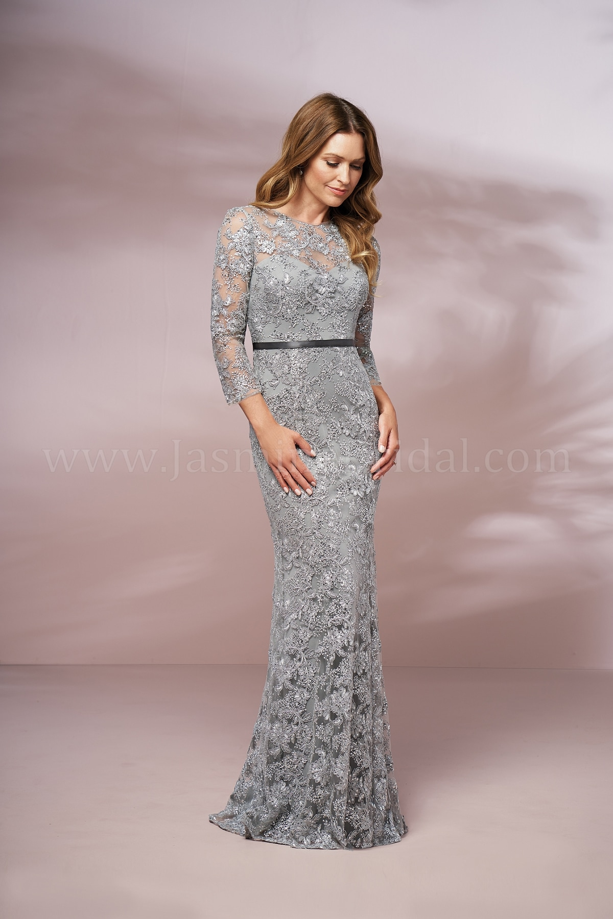 J205016 Long Illusion Jewel Neckline Lace Mob Dress With Sleeves
